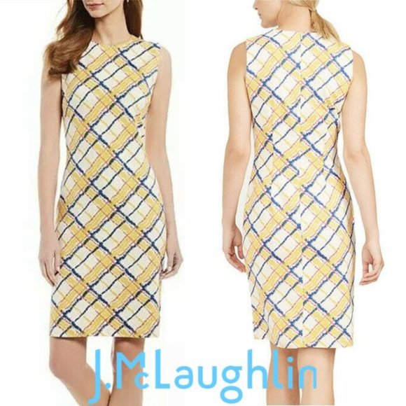 J.McLaughlin Devon Blue Yellow Plaid Dress NWT